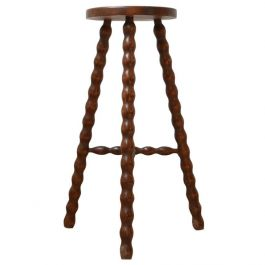 French Mid-Century Bobbin Selette Sculpture Stand or Side Table