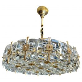 Palwa Gilt Brass and Crystal Chandelier