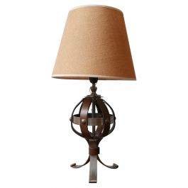 Mid-Century Leather and Iron Table Lamp by Jean-Pierre Ryckaert
