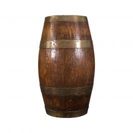 Antique Coopered Barrel, English, Oak, Brass, Stick Stand, Late Victorian, 1900