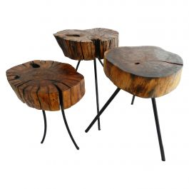 Midcentury Three Stools or Side Tables Live Edge French Selling Separately