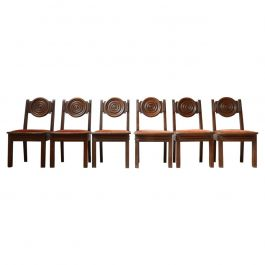 Set of Six Art Deco Oak French Dining Chairs '6'