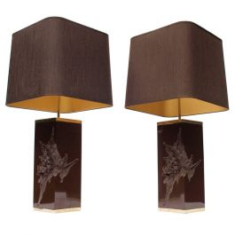 Pair of Cast Resin Lamps with Shades by Philippe Cheverny