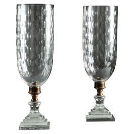 Pair of Glass Hurricane Shades with Square Plinth Bases