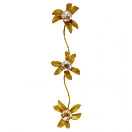 Brass Regency Flower Wall or Ceiling Light in the Style of Willy Daro, 1970's