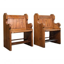 Pair of Antique Hall Seats, English, Pine, Reception, Conservatory, Victorian
