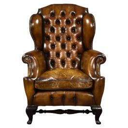 19th Century English Victorian Hand Dyed Leather Wing Back Armchair