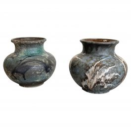 Set of 2 Pottery Vases Fat Lava Abstract Designed by Ruscha, Germany, 1960s