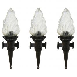 Three Flame Sconces Wall Lights Large Forged Iron Glass French, c1930 Sell Sep