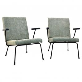 Pair of Wim Rietveld No. 1407 Lounge Chairs for Gispen