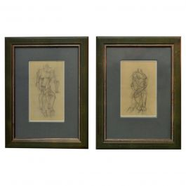 Set of Two Female Studies of Early 20th Century Life Drawings in Cubist Style