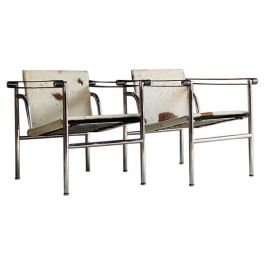 Le Corbusier LC1 Basculant Chairs by Charlotte Perriand and Pierre Jeanneret