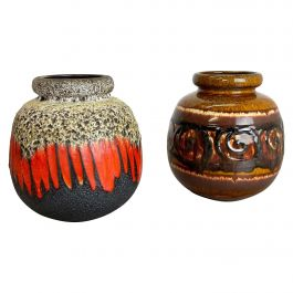 Set of Two Pottery Fat Lava Vases