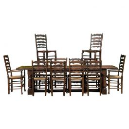 Large Antique 18th Century Design Oak Refectory Dining Table & Twelve Chairs