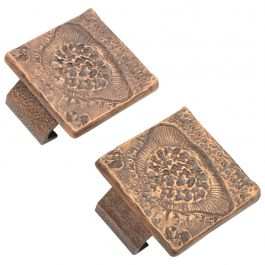 Pair of Square Bronze Push and Pull Door Handles for Double Doors