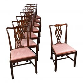 8 Antique Chippendale Revival Chairs, English, Mahogany, Dining Seat, Victorian
