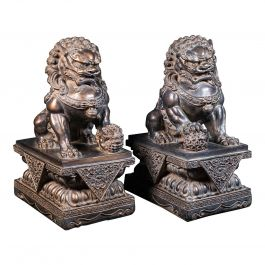 Pair of Vintage Decorative Bookends, Oriental, Bronzed, Dog of Fu Figure, C.1970