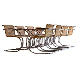 Mies van der Rohe MR20 Rattan Dining Chairs Set of Eight Circa 1960s