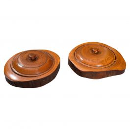 Pair of Antique Carved Lidded Bowls, Treen, English, Yew, Victorian, circa 1900