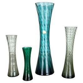Set of Four Hand Blown Crystal Glass Vases Made by Alfred Taube, Germany, 1960s