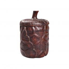 Small Antique Lidded Pot, Oriental, Chinese Elm, Carved Treen, Victorian, C.1900