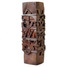 Abstract Totem Sculpture Carved in Wood