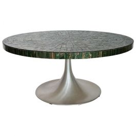 Coffee Table with Green Glass Mosaic & Tulip Pedestal by Heinz Lilienthal, 1960s