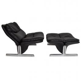 Mid-Century Modern Leather Lounge Chair and Ottoman by Ammanati & Vitelli