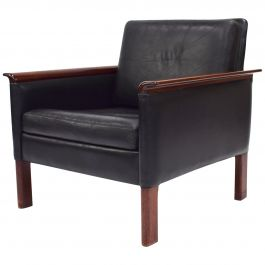 Hans Olsen Black Leather Lounge Chair, Denmark, 1950s