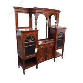 Edwardian Rosewood Marquetry Inlaid Display Cabinet