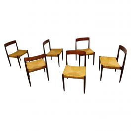Set of 6 Vintage Rosewood and Wicker Dining Chairs, 1960s