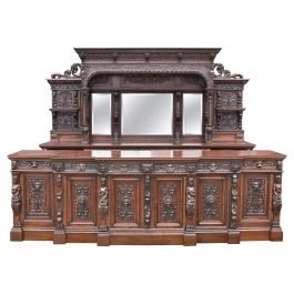 19th Century English Victorian Carved Oak Front and Back Home Bar