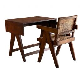 Pierre Jeanneret Student Desk and Office Chair Chandigarh India Circa 1959