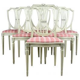 Swedish Gustavian Shield Back Dining Chairs Set of 6 Grey Later C 20th