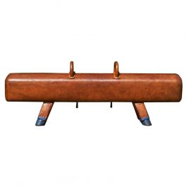 Gymnastic Leather Pommel Horse Bench with Wooden Handles, 1930s