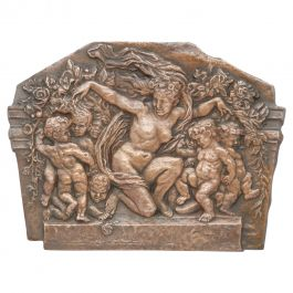 Art Deco Cherubs Naked Woman Nymph Wall Placque Panel Embossed Copper c1930