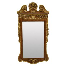 1930s George II Style Walnut and Parcel-Gilt Mirror
