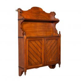 Antique Wall Mounted Cabinet, English, Mahogany, Hanging Whatnot, Victorian