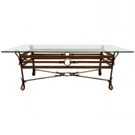 Mid Century Faux Leather Coffee Table in the Manner of Jacques Adnet, 1960s