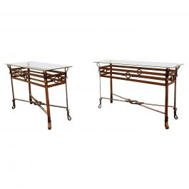 Mid Century Faux Leather Console Tables in the Manner of Jacques Adnet, 1960s