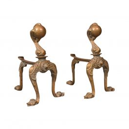 Pair, Antique Decorative Fireside Tool Rests, French, Brass, Andiron, Victorian