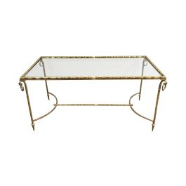 1940s Neoclassical Brass Coffee Table Attributed to Maison Bagués