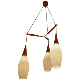 Three-Tiered Danish 1950s Chandelier with Teak