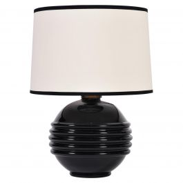 Art Deco Black Glass Table Lamp in the Manner of Jacques Adnet