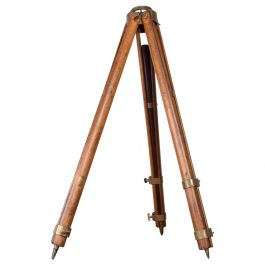 Vintage Antique Oak Brass Transit Tripod Surveyor