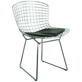 Knoll Side Chair with Black Seat Pad