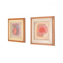 Abstract Mixed Media Pair Small Art Works by Jose Luis Serrano, Mexico 1980s