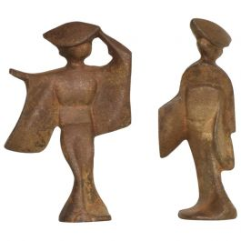 Mid-Century Modern Pair of Cast Iron Japanese Dancers Paper Weights