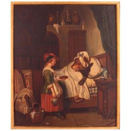 Unknown Oil Painting Signed Mari Pol 1863 Fairytale Red Riding Hood French 19th Century 19th century