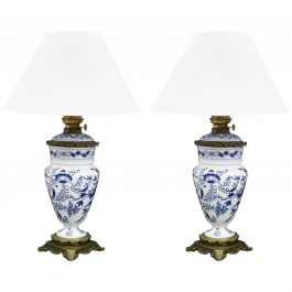 Pair of Blue and White Table Lamps Chinoiserie Antique Oil Lamps
